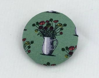 Vase of flowers brooch,fabric brooch,gift for her,flowers badge,flowers brooch