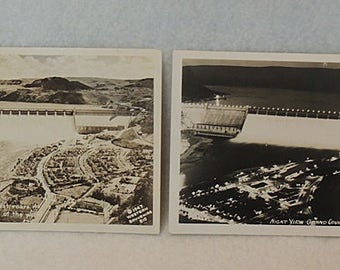2 Vintage RPPC Postcards.. Grand Coulee Dam.. 1957 Night View & 1947 Day View