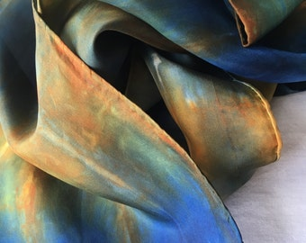Silk Scarf, Hand dyed scarf, Earth Tones, Natural Fall Colors, Blue and Orange Shibori Scarf, Christmas Gift