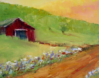 Barn Painting, Original oil Landscape, country road, sunset farm, wildflowers in field, home decor wall art canvas, fine art painting