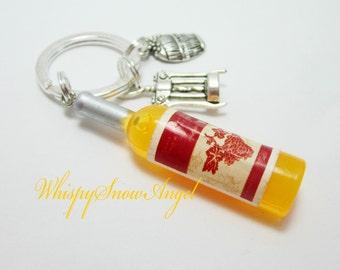 Wine Bottle Keychain Champagne Key Ring Bottle Opener Charm Wine Barrel Charm Yellow Acrylic Bottle 242