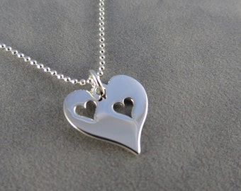 Two Heart Cutout Heart Charm Necklace - Sterling Silver - Sisters - Two Kids - Mom and Child - New Mom - Couples