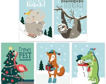 5 Christmas postcards, set of 5 postcards, greeting cards, animal christmas cards, gift cards, x-mas cards