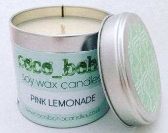 PINK LEMONADE scented soy wax large tin candle 200g
