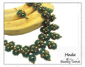 Beading Pattern, Right Angle Weave, Bollywood, Tierred Necklace Beading Instructions, DIY Beaded Necklace Jewelry PDF Tutorial,  HINDIA