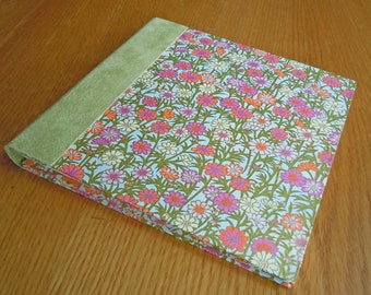 Bright Zinnia Garden with Soft Green Suede for a Square Blank Guest Book or Album