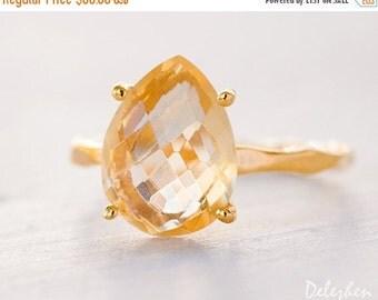 SALE - Yellow Citrine Ring Gold - November Birthstone Ring - Gemstone Ring - Stacking Ring - Gold Ring - Tear Drop Ring - Prong Set Ring
