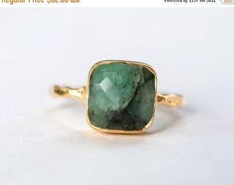 40 OFF - Raw Emerald Ring - May Birthstone Ring - Gemstone Ring - Stacking Ring - Gold Ring - Stacking Ring