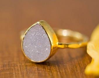 40 OFF - Rough Druzy Ring Gold - April Birthstone Ring - Gemstone Ring - Stacking Ring - Gold Ring - Tear Drop Ring