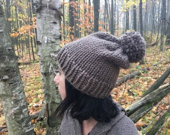 Slouchy Knit Hat in Taupe / THE BROOKESIDE