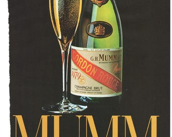 """1984 French Champagne Print Ad Cordon Rouge """"Mumm's the Word"""" Vintage Den Bar Lounge Man Cave Advertising Art Fathers Day Gift"""
