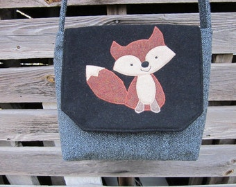 Fox crossbody bag, fox messenger bag, red fox purse, fox totebag, recycled wool