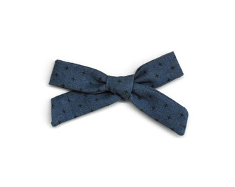 Toddler Bow Headband or Hair Clip - Shibori Hand Tied Bow