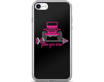 "4x4 ""Follow Your Arrow"" iPhone Case • Hot Pink / Black • You Can Request Custom Colors"