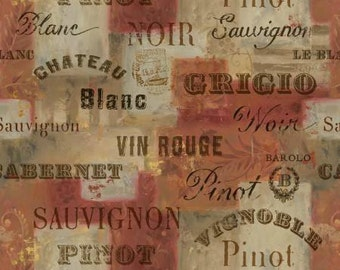 From The Chateau Wine Words Red premium cotton fabric by Lisa Audit for Wilmington Prints