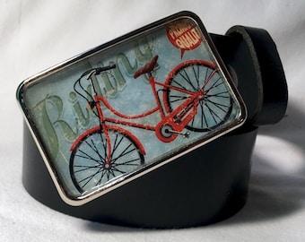 Ride Your Bike Retro Belt Buckle