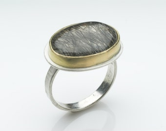 Tourmalated Quartz and textured silver ring - Birth Stone Ring - Silver and Gold ring - size N 1/2 ring - alternative wedding ring