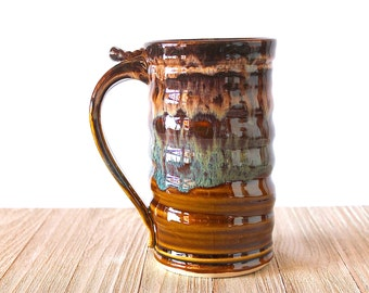 Stein, Tankard, Beer Mug, Honey Amber and Cream Frost by RiverStone Pottery