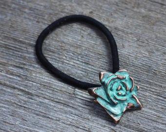 Copper patina rose hair elastic