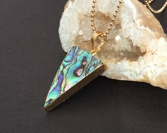 30% OFF SALE / Abalone Shell Pendant necklace gold geometric two sided triangle / boho mother of pearl //free shipping  (116-0785)