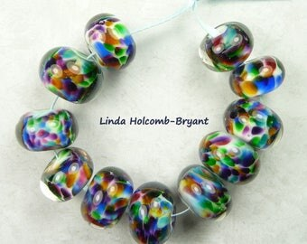 lampwork glass bead set of rainbow frit set of 11