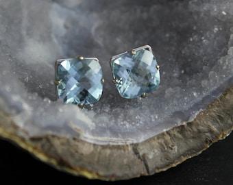 Sky Blue Topaz 14k White Gold Stud Earrings, 10mm Cushion Cut Sky Blue Topaz, Huge Gemstone, Light Blue Studs, Ready to Ship Earrings
