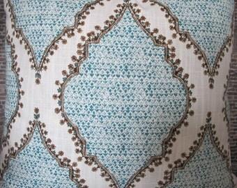 Designer Pillow Cover - Lumbar, 16 x 16, 18 x 18, 20 x 20, 22 x 22, 24 x 24 - JR Duralee Block Print AZM Peacock