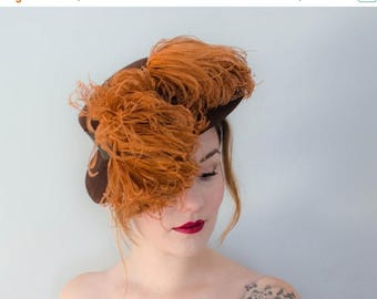25% OFF SALE / 1940s vintage hat / brown wool boater with orange ostrich feathers / Lord & Taylor