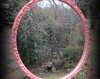 RESERVED~Large Coral Round French Mirror~Custom~Color Change~final balance