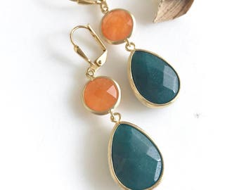SALE - Dark Green and Orange Jewel Dangle Teadrop Earrings in Gold.  Teardrop Jewel Earrings. Jewelry Gift. Dangle. Drop. Modern Jewelry.