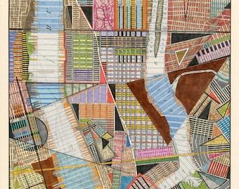 Lower Manhattan Print: archival giclee reproduction of original city map art multi-color modern art geometric shapes