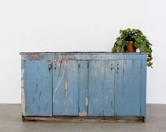 SALE vintage work cabinet, large cupboard, painted blue buffet