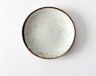 vintage speckled ceramic plate, small dish