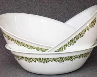 3 Extra LARGE Corelle Crazy Green Daisy Serving Bowls FABULOUS CONDITION