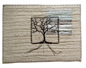 Winter landscape with black tree modern embroidery art for wall decor