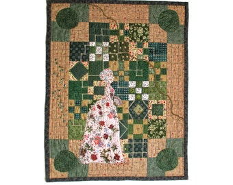 Victorian patterned garden walk in tan and green contemporary art quilt
