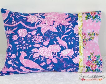 Sophie Pillowcase, pink blue toile fabric pillowcase