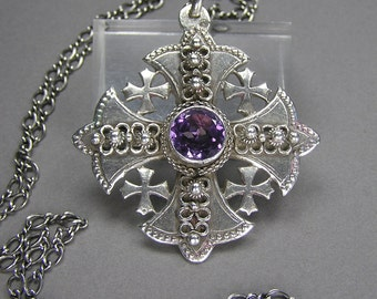 Silver Jerusalem Cross Pendant, Statement Necklace, Violet Blue, Purple Faceted Stone, Gothic, Medieval, Maltese Cross, Vintage Necklace