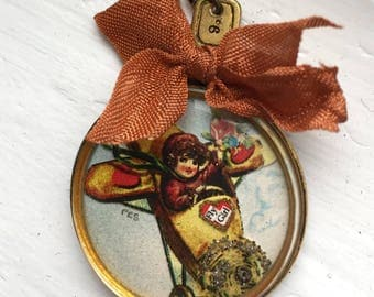 Vintage Handcrafted Pendant FLY GIRL in airplane