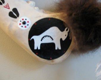 Buffalo War Club , White Buffalo , Buffalo Jaw Bone , Bone Art , Totem Art , Hand Painted Jawbone , Buffalo Fur , Black Onyx In-lay , Art