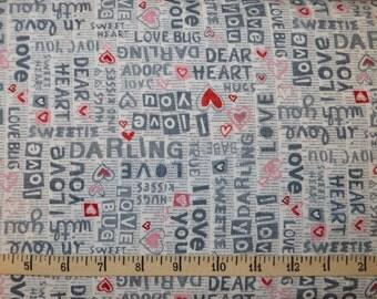 Studio E. Dear Heart. Sentiments White/Grey - BTY Cotton Fabric - Choose your cut