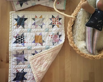 ORGANIC DOLL QUILT waldorf baby doll blanket, changing pad, doll toy accessory