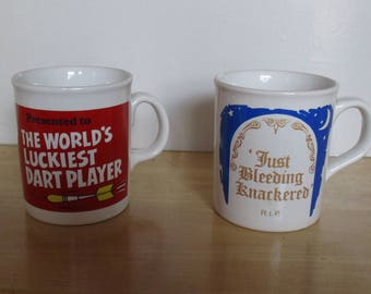 Vintage Mugs - China Funny Mugs, The World's Luckiest Dart Player, Just Bleeding Knackered, Made in England, Mancave Mugs, Father's Day Gift