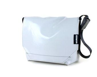 Messenger Bag made from Upcycled Truck Tarp, Water resistant Laptop Bag, Courier Bag, Satchel, Shoulder Bag (Q07)