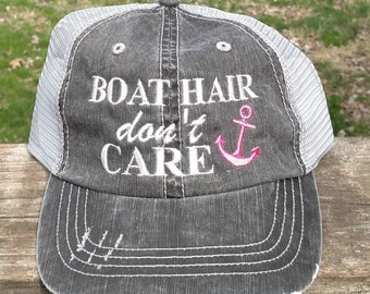 Boat Hair Don't Care embroiderd hat