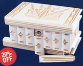 Puzzle  Box Painted Carved Jewelry Box Case Wood Comes With Key, Inside Lock (White)