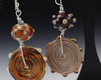 Asymmetrical Fall Brown Topaz Lampwork Beaded Glass Sterling Silver Earrings