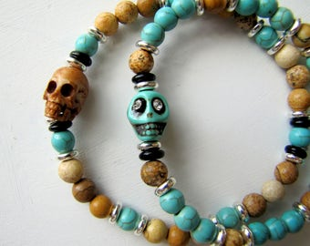 Couple's Bracelets Set Turquoise Skull Bracelet His and Hers Bracelet Set Gift for Couples Jack and Jill Gift Boho Bracelet Beacj Jewelry