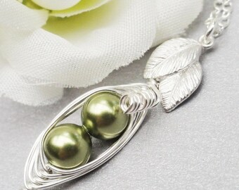 Christmas Sale Two Green  Petite Peas In A Pod Necklace Sterling Silver ( Choose Your Colors)