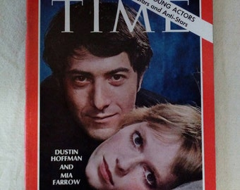 Collectible Time Magazine February 7, 1969 Dustin Hoffman and Mia Farrow Cover Very Good Condition Great Ads